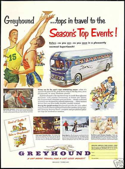 Greyhound Bus Travel Relax See Save Vintage (1951)