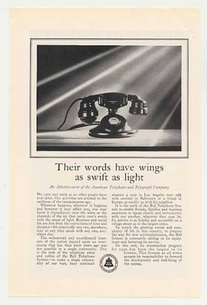 Bell Telephone System Words Have Wings Phone (1930)