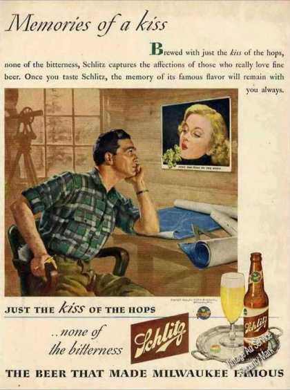 "Schlitz Beer ""Memories of a Kiss"" Unique (1944)"