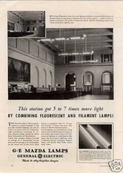 G-e Lamps Ad Great Northern Station/minneap (1941)