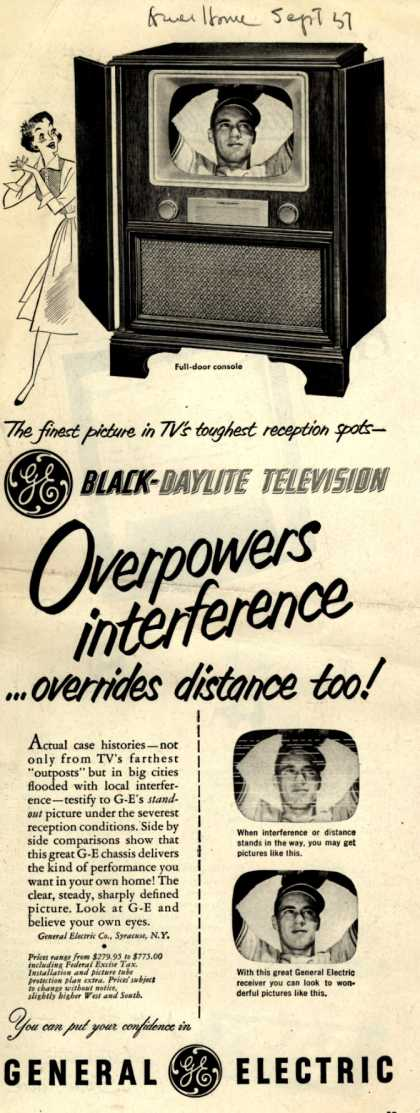 General Electric Company's Black-Daylite Television – Overpowers interference... overrides distance too (1951)