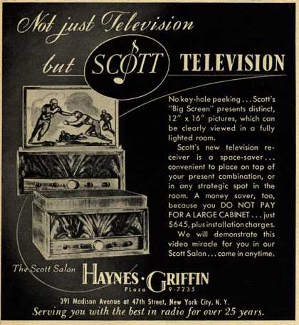 Scott Laboratorie's Big Screen Television – Not Just Television... but Scott Television (1948)