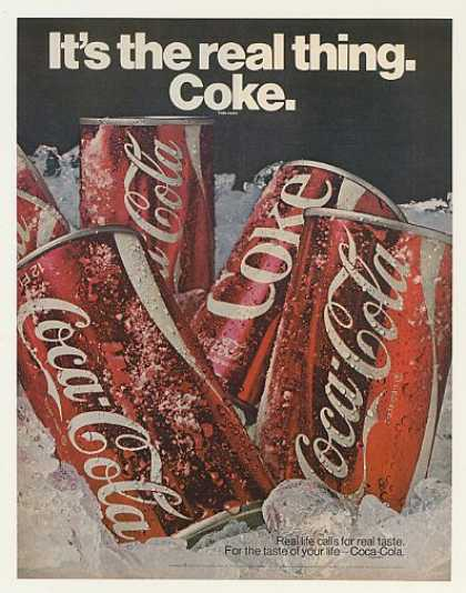 Coke Coca-Cola Cans on Ice It's the Real Thing (1970)