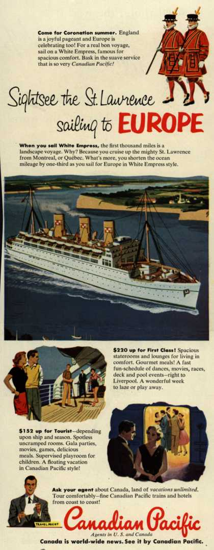 Canadian Pacific's Europe – Sightsee the St. Lawrence sailing to Europe (1953)