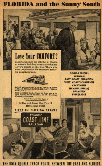 Atlantic Coast Line Railroad's Comfort – FLORIDA and the Sunny South (1954)