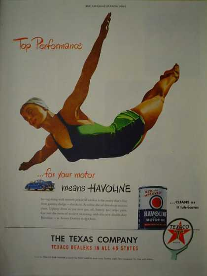 Texaco Havoline Motor Oil Top Performance (1947)