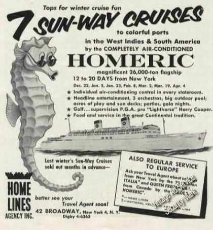 Homeric Sun-way Cruises Travel (1956)