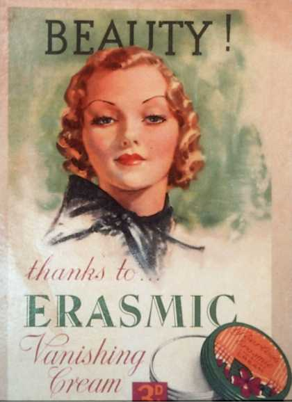 Skin Care Erasmic Vanishing Cream Skincare, UK (1920)