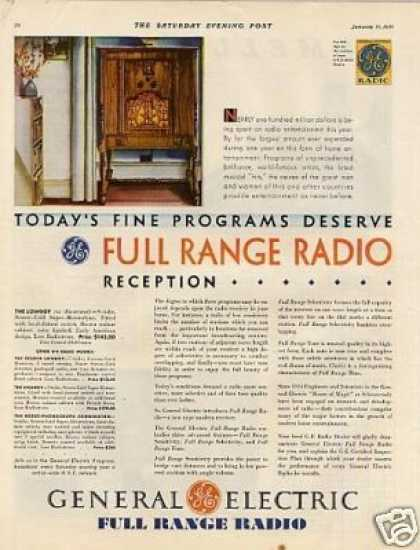 General Electric Radio Color Ad Lowboy (1931)