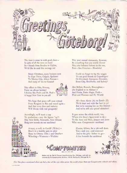Comptometer Holiday – Greetings Goteborg (1948)