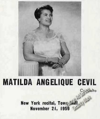 Matilda Angelique Cevil Photo Contralto Trade (1960)