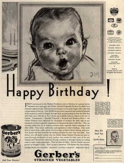 Gerber Products Division, Fremont Canning Company's Gerber Strained Vegetables – Happy Birthday (1930)