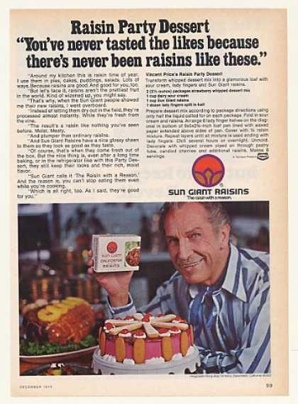 Vincent Price Sun Giant Raisins Party Dessert (1974)