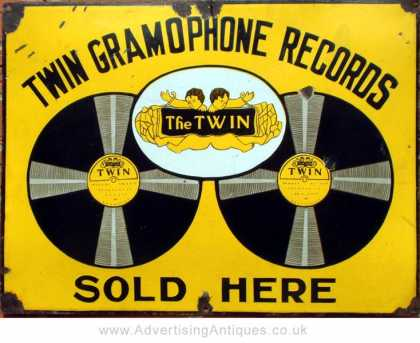 Twin Gramaphone Records Sign