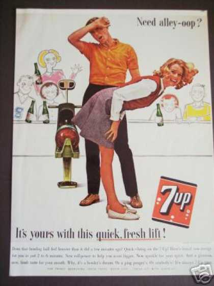 Original 7up Seven Up Bowling Alley Soda (1963)