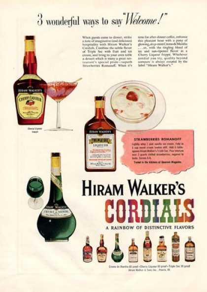 Hiram Walker's Cordials Bottle (1954)