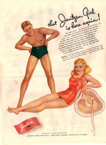 Jantzen Swim Suit Ad Young Man & Young Lady (1941)