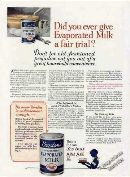 "Borden's Evaporated Milk ""Fair Trial"" Antique (1924)"