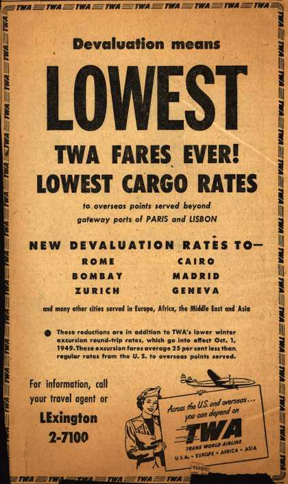 Trans World Airline's low fares – Devaluation means Lowest TWA Fares Ever! Lowest Cargo Rates (1949)