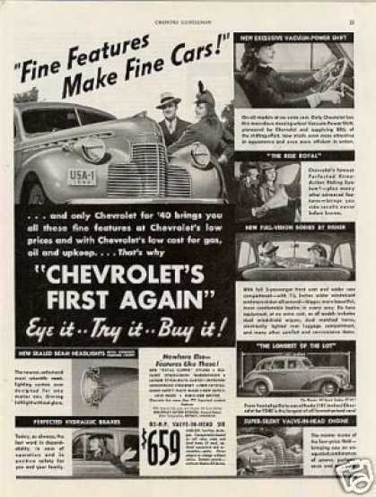 "Chevrolet Car Ad ""Fine Features.. (1940)"