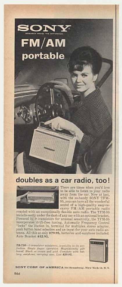 Sony TFM-95 Portable Radio Doubles as Car (1962)