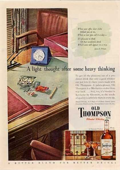 "Old Thompson Whiskey Ad ""A Light Thought... (1946)"