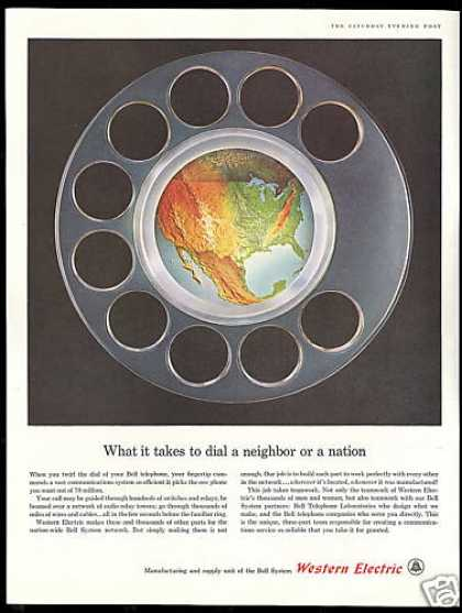 Bell Telephone Western Electric Parts US Map (1961)