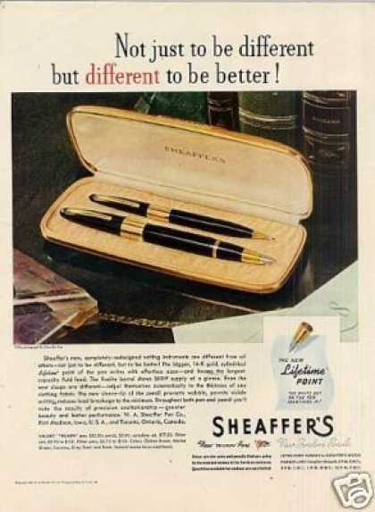 "Sheaffers Fountain Pen Ad ""Not Just To Be... (1945)"