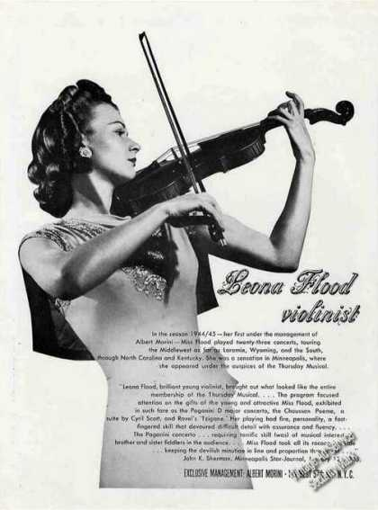 Leona Flood Photo Violinist Booking (1945)