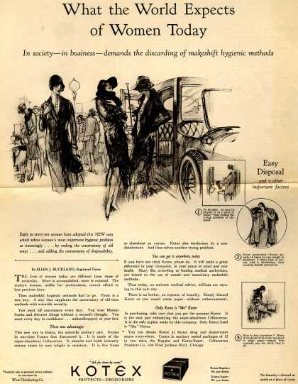 Cellucotton Products Company's Sanitary Napkins – What the World Expects of Women Today (1926)