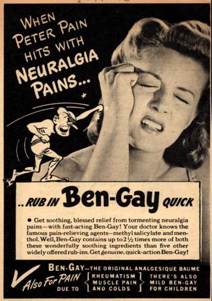 Thomas Leeming & Co.'s Ben-Gay – When Peter Pain hits with neuralgia pains... (1946)