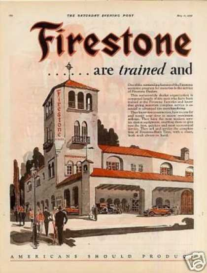 Firestone Tires Color Ad 2 Page (1928)