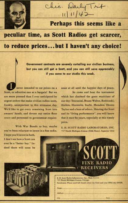 E.H. Scott Radio Laboratorie's Radio – Perhaps this seems like a peculiar time, as Scott Radios get scarcer, to reduce prices... but I haven't any choice (1942)