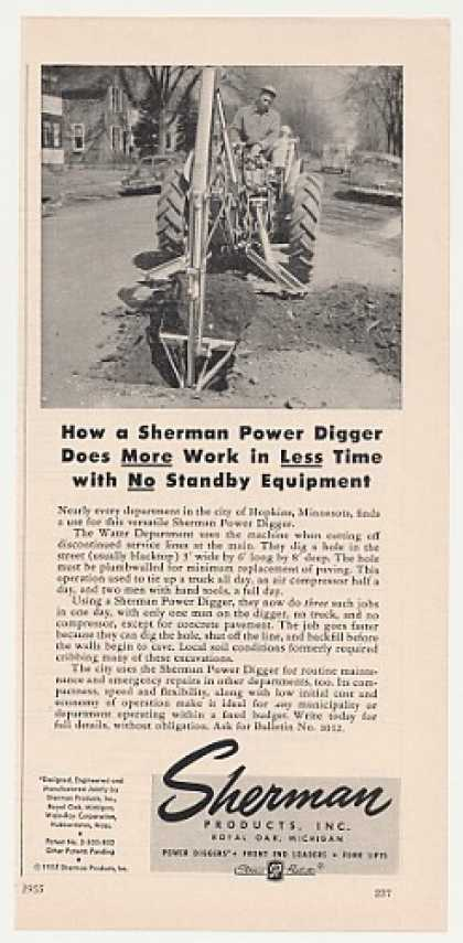 Sherman Power Digger Hopkins MN Uses Photo (1955)