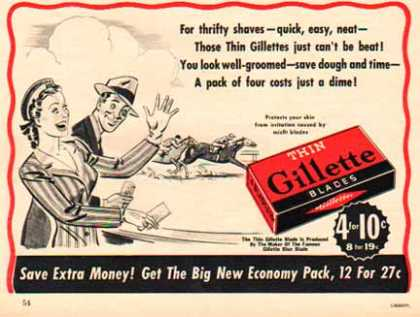 Gillette Razor Blade – Gillette Pack of 4 only a Dime (1941)