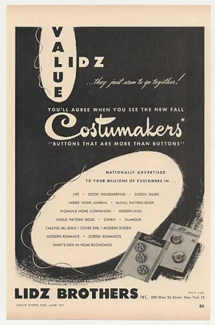 Lidz Brothers Costumakers Buttons (1947)