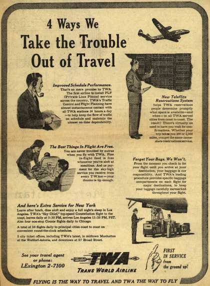 Trans World Airline – 4 Ways We Take the Trouble Out of Travel (1947)