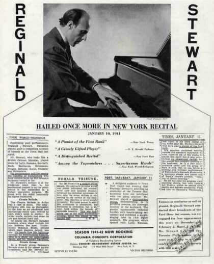 Reginald Stewart Photo Pianist Booking (1941)