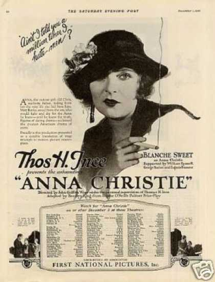 "First National Pictures Ad ""Anna Christie"" (1923)"