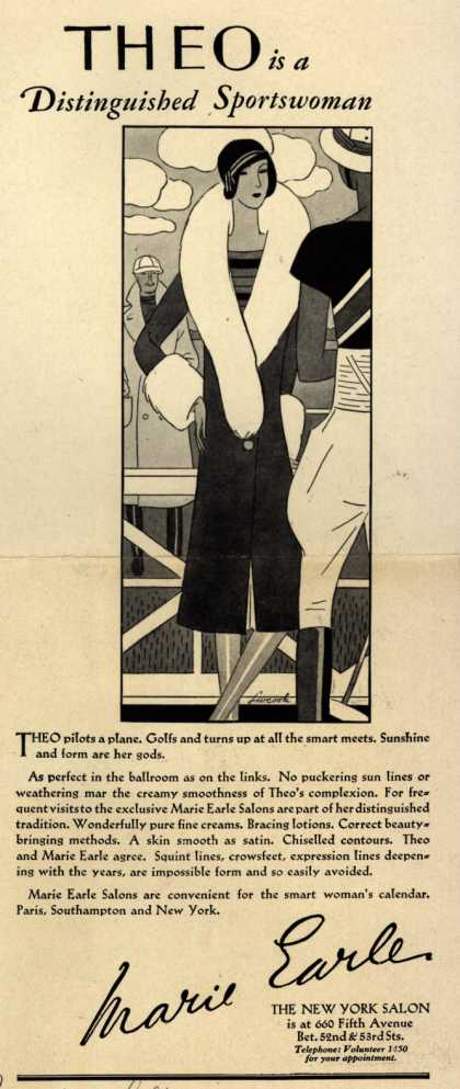 Marie Earle's Cosmetics – Theo is a Distinguished Sportswoman (1929)
