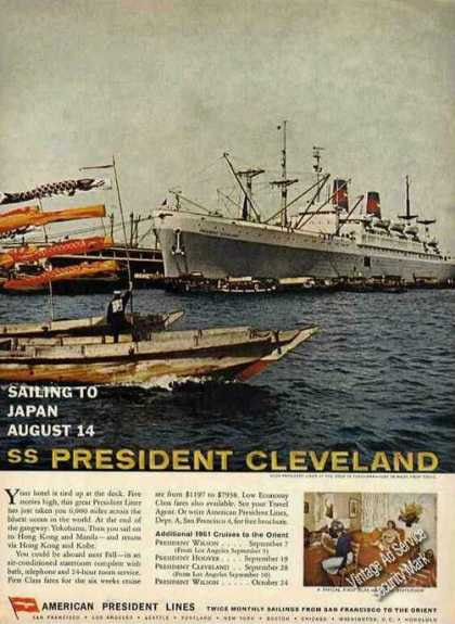 Ss President Cleveland Sailing To Japan 8/14 (1961)