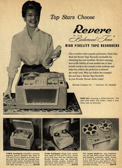 "Revere Camera Company's Tape Recorder – Top Stars Choose Revere ""Balanced Tone"" High Fidelity Tape Recorders (1956)"