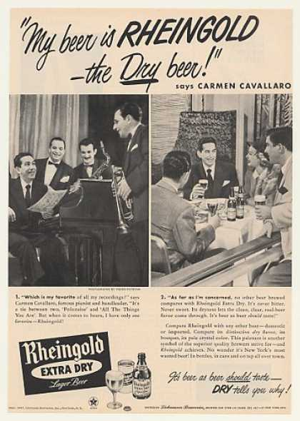 Carmen Cavallaro Rheingold Dry Beer Photo (1947)