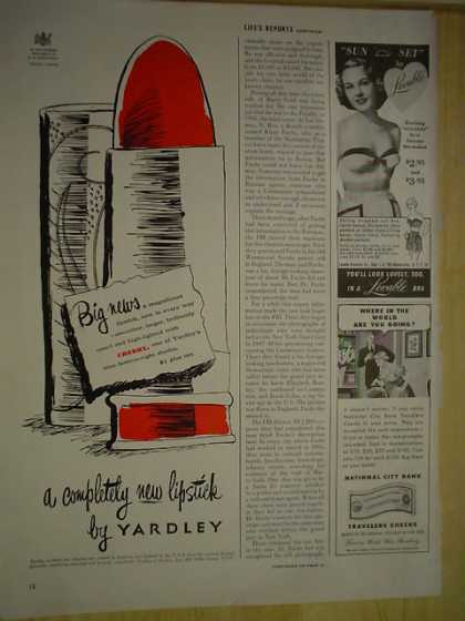Yardley Big news A completely new lipstick (1950)