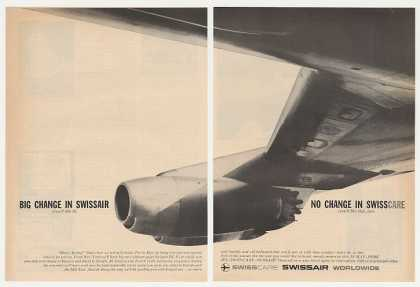 SwissAir Airlines Big Change DC-8 Jet 2-Page (1960)