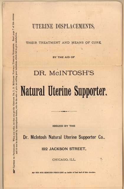 Dr. McIntosh Natural Uterine Supporter Co.'s Dr. McIntosh's Natural Uterine Supporter – Uterine Displacements