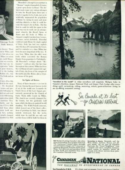Canadian National Railways C 1/2 Page Ad Jasper (1950)