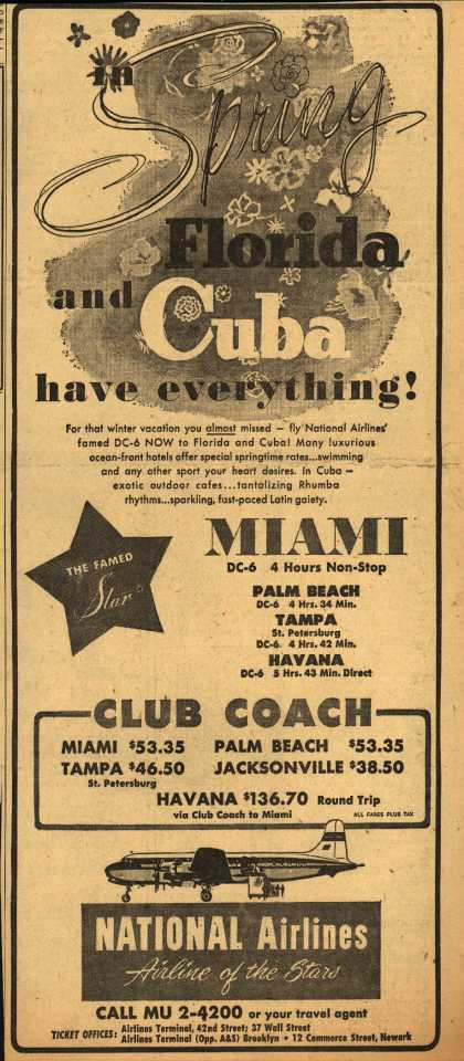 National Airline's Florida and Cuba – in Spring Florida and Cuba have everything (1951)