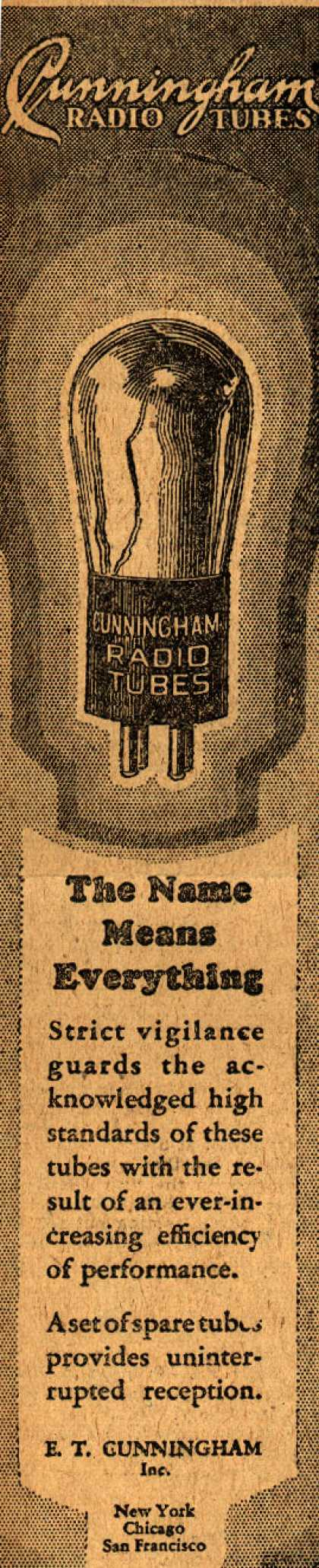 E.T. Cunningham's Radio Tubes – The name means everything (1928)