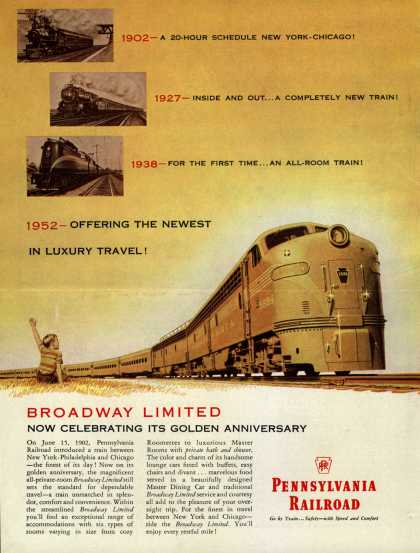 Pennsylvania Railroad – Broadway Limited Now Celebrating Its Golden Anniversary (1951)
